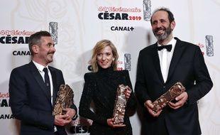 Xavier Legrand, Léa Drucker et  Alexandre Gavras, récompensés pour leur film «Jusqu'à la garde», sur les violences conjugales.