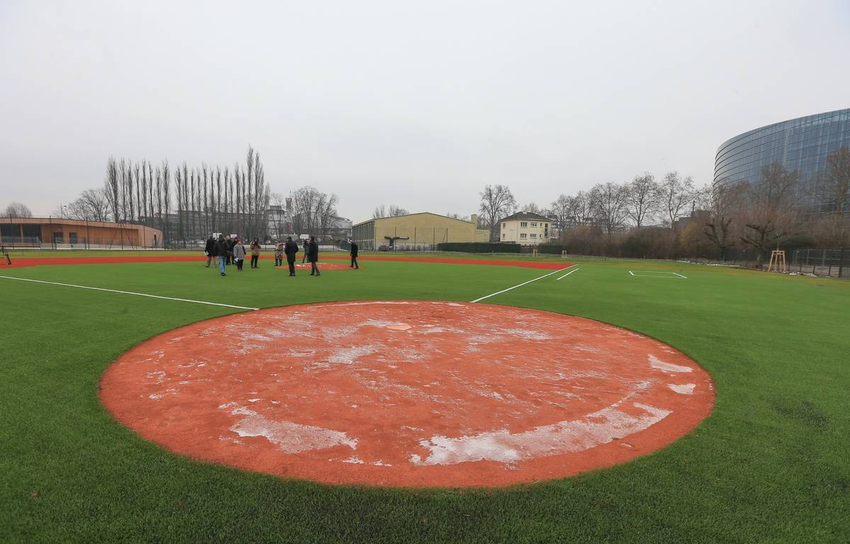 Le terrain de baseball, au pied du Parlement européen. Strasbourg le 19 janvier 2016.  – G. Varela / 20 Minutes