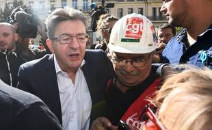 Jean-Luc Mélenchon lors la manifestation contre la reforme du code du travail à Marseille.