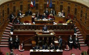 Le Premier ministre Manuel Valls défend, devant les sénateurs, le projet de révision constitutionnelle, qui vise à inscrire dans la loi fondamentale le régime de l'état d'urgence, le 16 mars 2016 à Paris