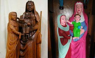 La statue d'El Ranadoiro, avant et après restauration. Il n'y a pas à dire, ça change.