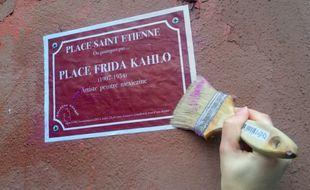 Le collectif Copines donne des noms féminins aux rues de Strasbourg. Le 8 mars 2018.