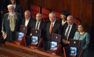 Les lauréats du prix Nobel de la Paix 2015, le 16 février 2016 en Tunisie