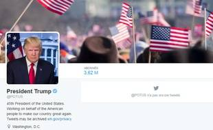 Capture d'écran du compte Twitter POTUS le 20 janvier 2017.