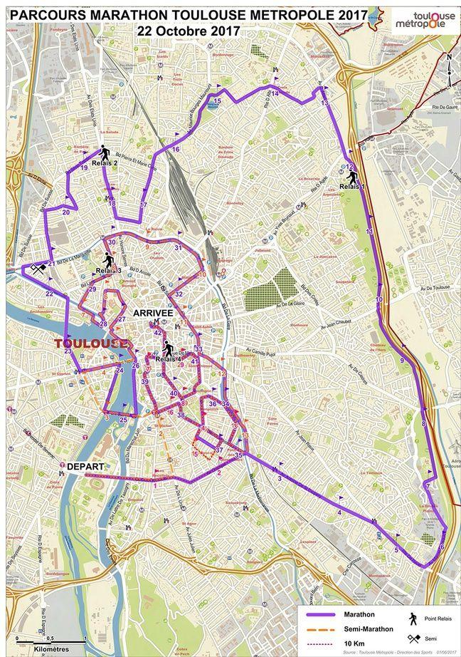 Le parcours de la onzième édition du Marathon international de Toulouse Métropole, prévue le 22 octobre 2017.