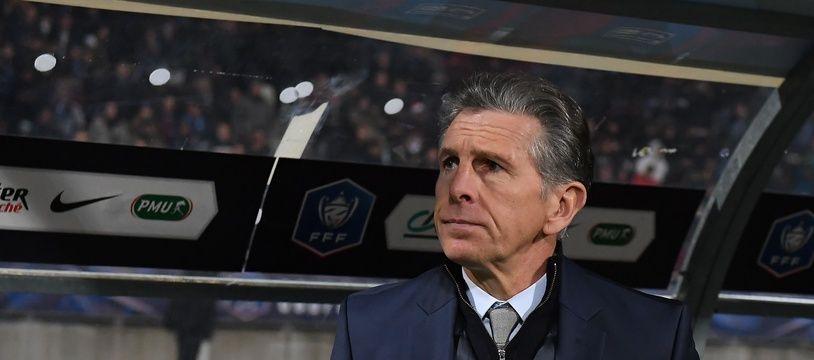 Claude Puel sur le banc de Saint-Etienne face au PSG, le 18 janvier 2020.