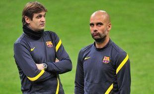 Le nouvel entraîneur de Barcelone Tito Vilanova et Pep Guardiola, le 27 mars 2012 à Milan.
