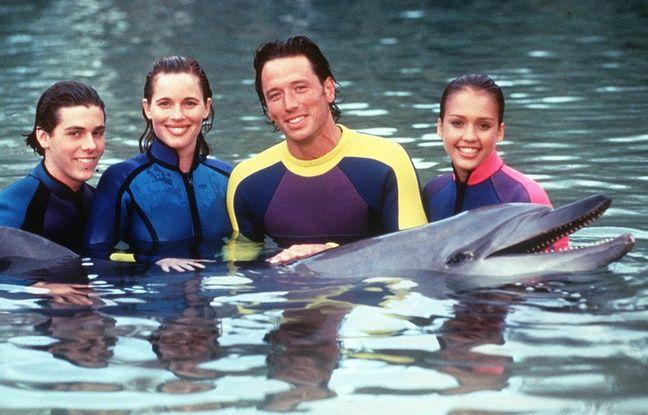 De gauche à droite, avec Flipper le dauphin : Payton Haas, Colleen Flynn, Brian Wimmer et Jessica Alba.