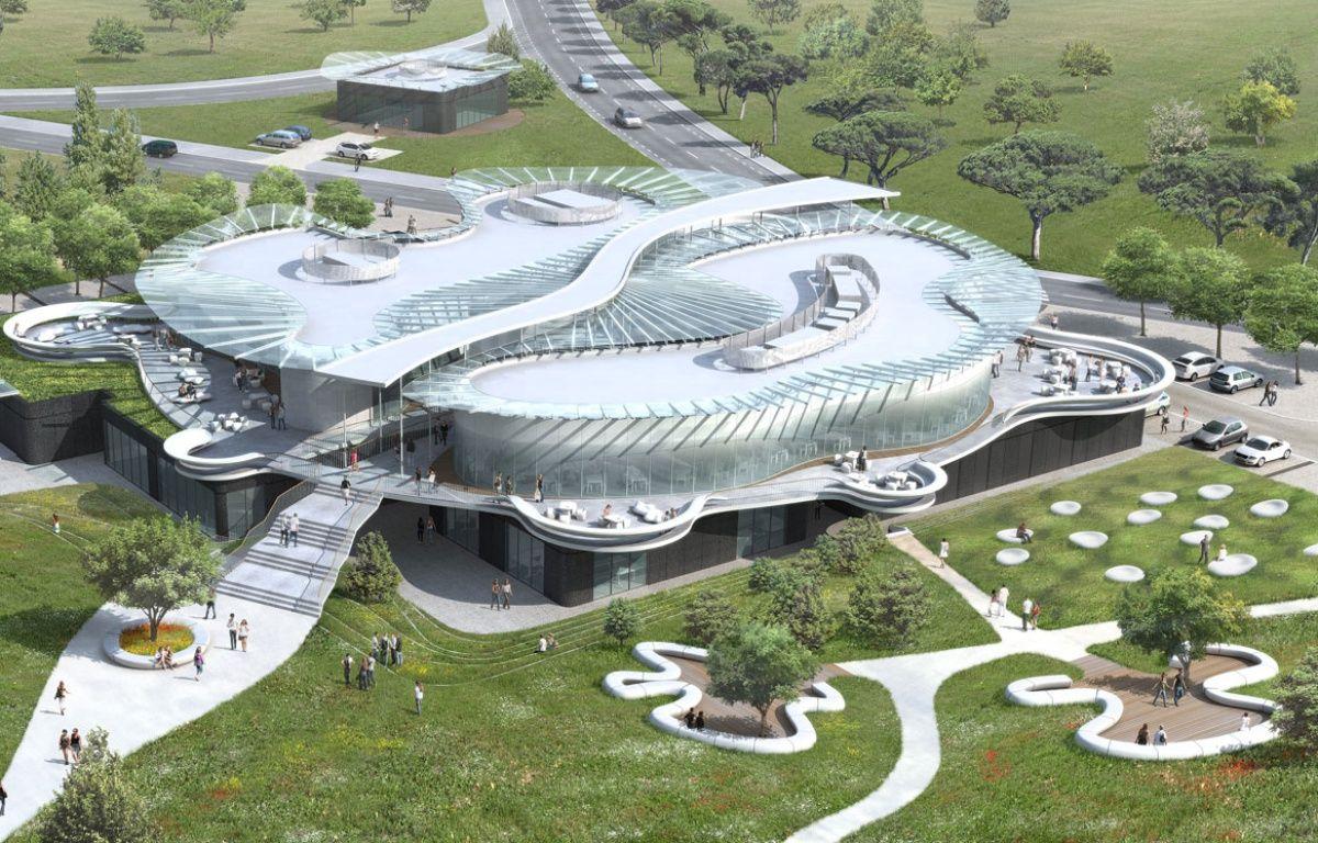 Vue aérienne du futur espace multi-services destiné aux étudiants du campus Bordelais.  – Denis DEBAIG Architecte -Atelier des architecte MAZIERES