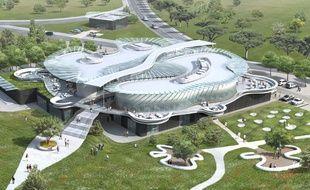 Vue aérienne du futur espace multi-services destiné aux étudiants du campus Bordelais.