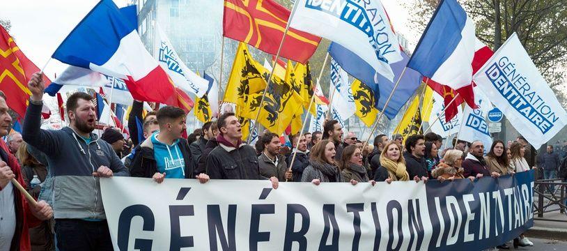 Une manifestation de Génération identitaire, à Paris le 17 novembre 2019.