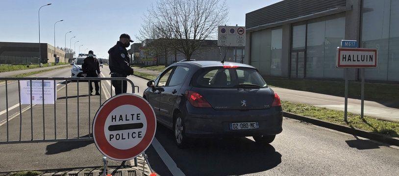 Un contrôle de police à la frontière franco-belge.