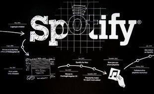 Une chronologie des succès de Spotify est dessinée sur un mur à l'entrée du siège de la compagnie suédoise à Stockholm, photographié le 16 février 2015