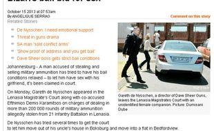 Capture d'écran du site du quotidien d'Afrique du Sud, The Star.