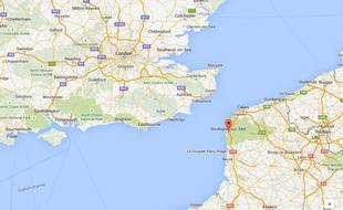 Google Maps Boulogne-sur-mer dans le Nord-Pas-de-Calais.