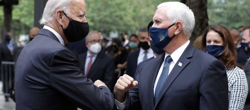 Le candidat démocrate Joe Biden et le vice-président américain Mike Pence lors des commémorations du 11-septembre à New York.