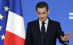 Le président de la République Nicolas Sarkozy, lors de la Conférence sur la finance internationale à l'Elysée, le 22novembre 2011 à Paris.