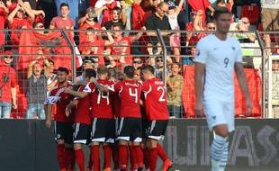 La joie des Albanais, vainqueurs de la France (1-0) le 13 juin 2015.