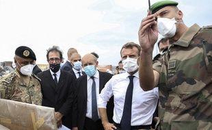 Emmanuel Macron et Jean-Yves Le Drian, à Beyrouth le 1er septembre 2020.