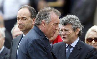 Jean-François Copé, président de l'UMP, François Bayrou, président du Modem, et Jean-Louis Borloo, président de l'UDI, le 7 juin 2013 à Paris.