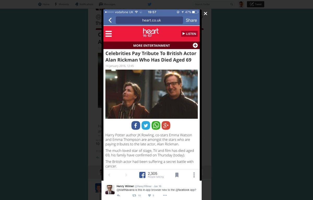 Facebook teste un navigateur intégré à son app mobile. – H.WILMER/BBC