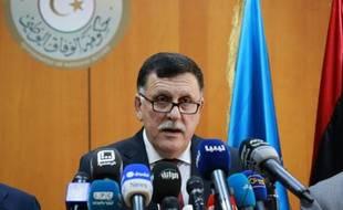 Fayez al-Sarraj, chef du gouvernement d'union soutenu par l'ONU, lors d'une conférence de presse à Tripoli, le 30 mars 2016