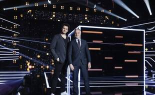 Eric Antoine et David GInola, les présentateurs d'«Audition secrète», sur le plateau de l'émission.