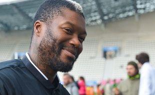 Djibril Cissé lors des journées de l'arbitrage, le 21 septembre 2015 au Stade Jean-Bouin.