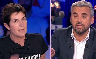 Christine Angot et Alexis Corbière dans «On n'est pas couché», diffusé le 16 septembre 2017 sur France 2.