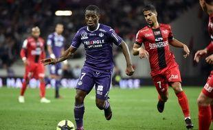 Max-Alain Gradel, l'attaquant du TFC, le 20 mai 2018 face à Guingamp au Stadium de Toulouse.