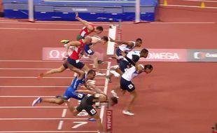Le triplé français en finale du 60m haies, le 6 mars 2015.
