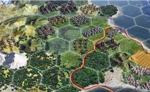 La forme hexagonale des cases, inspirée des jeux de stratégie sur table, les wargames.