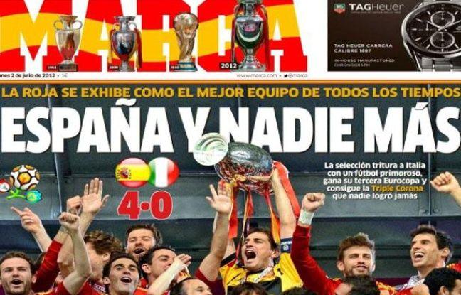 """La Une du quotidien marca du 2 juillet 2012, """"L'Espagne et personne d'autre""""."""
