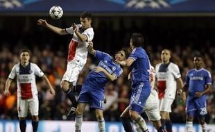 Une tête de Thiago Motta pendant le match retour Chelsea-PSG, le 8 avril 2014.