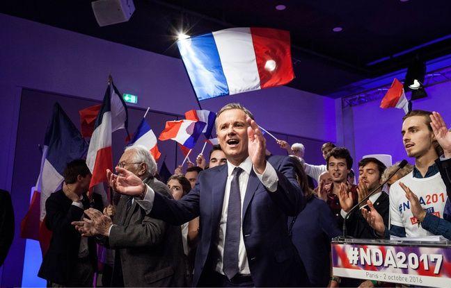 Nicolas Dupont-Aignan, candidat à la présidentielle, le 2 octobre 2016 au Congrès du parti Debout la France à Paris