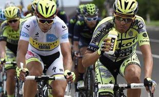 Peter Sagan et Alberto Contador lors de la 4e étape du Tour de France, le 7 juillet 2015.