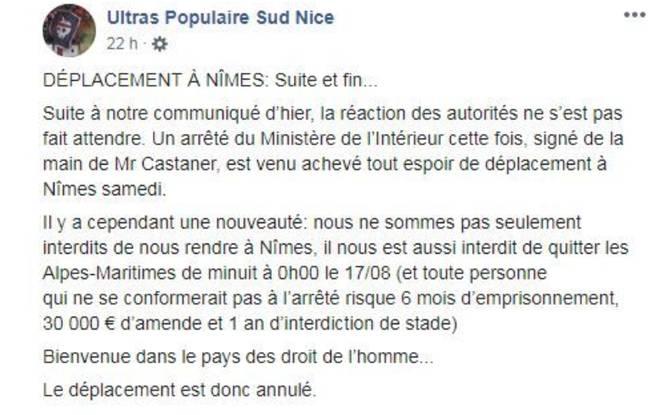 Les ultras niçois annoncent l'annulation de leur déplacement à Nîmes sur leur page Facebook.