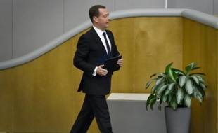 Le Premier ministre russe Dmitri Medvedev à la Douma, chambre basse du Parlement russe, à Moscou, le 19 avril 2016