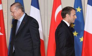 Emmanuel Macron et son homologue turc Recep Tayyip Erdogan, à l'Elysée en 2018 (illustration).