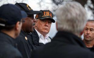 Le président Donald Trump rencontre des habitants de Malibu ravagé par un incendie samedi 17 novembre 2018.