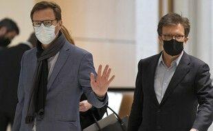 Paris, le 20 Mai 2021. Jérôme Lavrilleux et son avocat, Christian Saint-Palais, arrivent au tribunal judiciaire de Paris qui examine l'affaire Bygmalion.