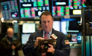 Un trader au NYSE, la Bourse de New-York, le 29 décembre 2017 (illustration).