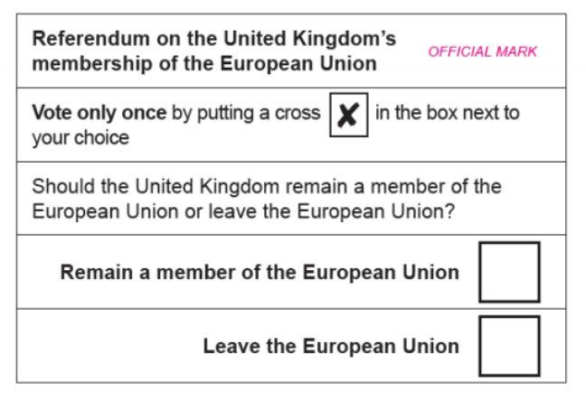 Le bulletin du référendum britannique sur l'Union européenne, prévu le 23 juin 2016.