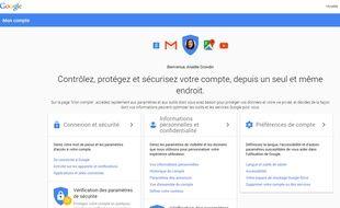 La plateforme «Mon Compte» mise en place par Google.