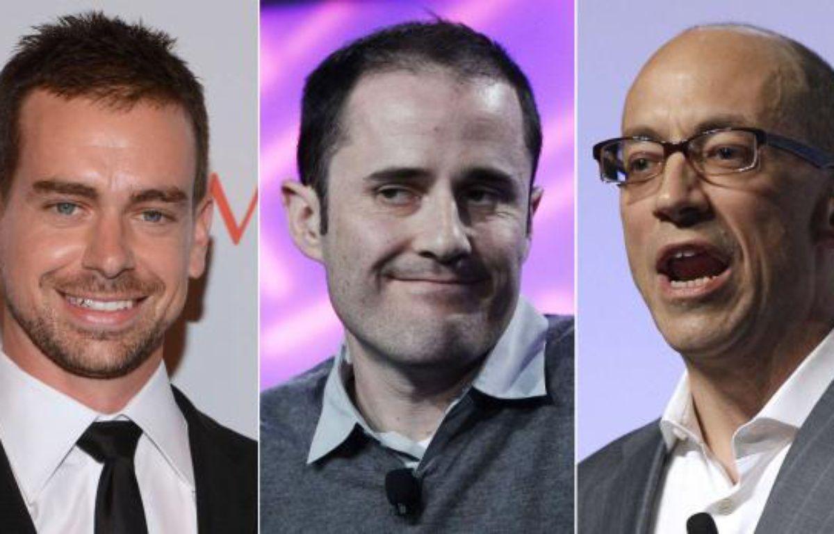 De gauche à droite, deux des quatre fondateurs de Twitter, Jack Dorsey et Evan Williams et l'actuel CEO, Dick Costolo. – PHOTOMONTAGE 20 MINUTES / AP / SIPA