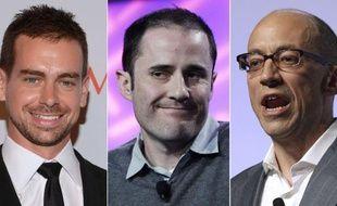 De gauche à droite, deux des quatre fondateurs de Twitter, Jack Dorsey et Evan Williams et l'actuel CEO, Dick Costolo.