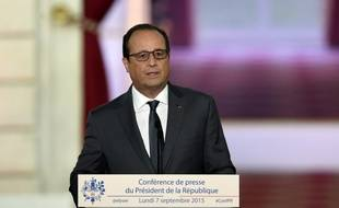 François Hollande lors de la conférence de presse du 7 septembre 2015 à l'Elysée.
