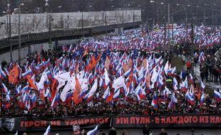 Manifestation à Moscou le 1er mars 2015 en hommage à l'opposant Boris Nemtsov, assassiné deux jours plus tôt