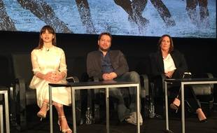 Felicity Jones, Gareth Edwards et Kathleen Kennedy à la conférence de presse de Rogue One: A Star Wars Story