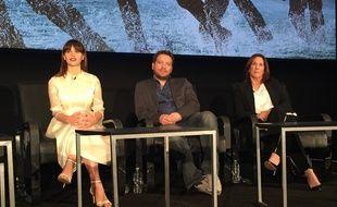 Felicity Jones, Gareth Edwards et Kathleen Kennedy à la conférence de presse de Rogue One: A Star Wars Story